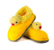 Baby woolen booties Royalty Free Stock Photos