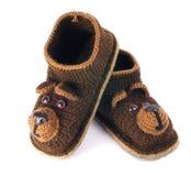 Baby woolen booties Stock Images
