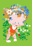 Baby in a wreath of flowers Stock Photo