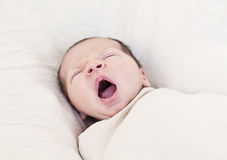 Baby yawning stock photos