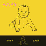 Baby  on yellow Royalty Free Stock Photos