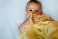 Baby in yellow blanket. On a white background Royalty Free Stock Photography