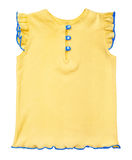 Baby yellow blouse with buttons and blue edge Stock Photo
