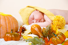 Baby in yellow hat Stock Photography