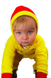 Baby with yellow. Isolated concept. Serious  baby in yellow look at you Royalty Free Stock Photos
