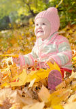 Baby in the yellow leaves. Baby girl playing in the woods with yellow leaves stock photos