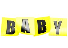 Baby in yellow note Royalty Free Stock Photos