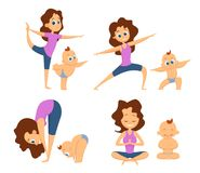 Baby yoga. Mutual exercises with mother and her baby. Different poses and exercises for beginners. Cartoon characters stock illustration