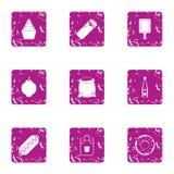 Baby yummy icons set, grunge style. Baby yummy icons set. Grunge set of 9 baby yummy vector icons for web isolated on white background Stock Photography