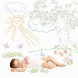 Baby zoete slaap op een geschilderde aard Pasgeboren zuigeling stock foto