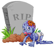 Baby zombie at the gravestone Royalty Free Stock Image