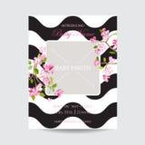 Babyaankomst Sakura Floral Card, sparen de Datum Bloeiende Lente en de Zomer in het Kader van de Waterverfstijl prentbriefkaar Stock Afbeelding