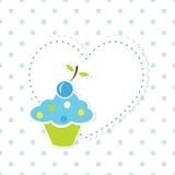 Babyachtergrond met cupcake Stock Foto