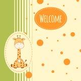 Babyachtergrond met giraf Stock Foto