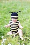 Babyalter von 10 Monaten in der Biene kostümiert draußen Stockfoto