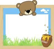 Babybär und leeres Brett Stockbilder