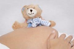 Babybauch mit Plüschbären Lizenzfreie Stockfotos