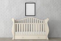 Babybed met Leeg Fotokader het 3d teruggeven Royalty-vrije Stock Foto