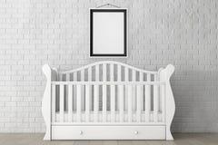 Babybed met Leeg Fotokader het 3d teruggeven Stock Fotografie