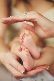 Babybenen. Benen pasgeboren in oudershand. Zuigelingsvoeten. Stock Fotografie
