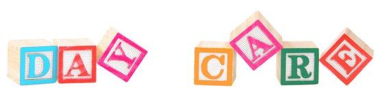 Babyblokken die opvang spellen Stock Foto