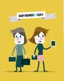 Babyboomers VERSUS generatie y Bedrijfs menselijke hulpbron Royalty-vrije Stock Foto