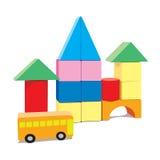 Babybouwstenen met bus Stock Fotografie