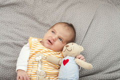 Babyboy newborn looking up Royalty Free Stock Photos