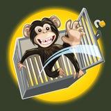Babychimpansee die een Kooi breken royalty-vrije illustratie