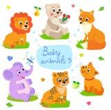 Babydieren: De leeuw, draagt, Vos, Olifant, Tijger, Kat Vastgestelde Karakter Vectorillustratie Royalty-vrije Stock Foto's