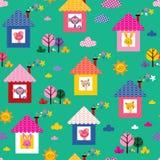 Babydieren in het patroon van huizenjonge geitjes Stock Foto
