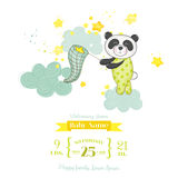 Babydouche of Aankomstkaart - Baby Panda Catching Stars Stock Afbeelding