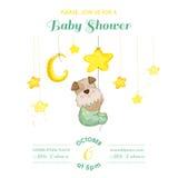 Babydouche of Aankomstkaart - Babyhond die Sterren vangen Royalty-vrije Stock Foto's