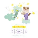 Babydouche of Aankomstkaart - Babyhond die Sterren vangen Stock Foto