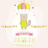 Babydouche of Aankomstkaart - Babymeisje Cat Flying met een Valscherm vector illustratie