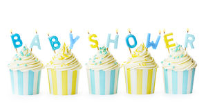 Babydouche cupcakes royalty-vrije stock fotografie