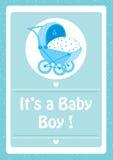 Babydouche, het ` s een blauwe de uitnodigingskaart van de babyjongen, met babywandelwagen Stock Foto's