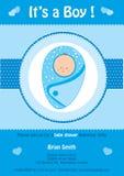 Babydouche, het ` s een kaart van de jongens blauwe uitnodiging, met leuke baby Royalty-vrije Stock Afbeelding