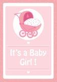 Babydouche, het ` s een roze de uitnodigingskaart van het babymeisje, met babywandelwagen Royalty-vrije Stock Fotografie
