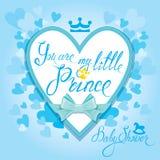 Babydouche met hart en kroon op blauwe achtergrond Calligraphi stock illustratie