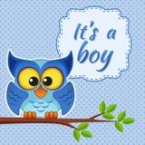 Babyduschkarte mit Eule auf Niederlassung Es ` s ein Junge Stockfoto