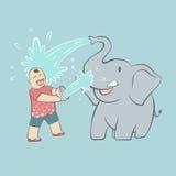 Babyelefant und -tourist Stockfotografie