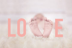 Babyfeet on fur forming the word love Royalty Free Stock Images