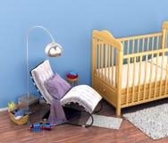 Babyfeldbett, Spielwaren, ein Stuhl, eine Wolldecke für die Füße in einem bequemen Chi Stockfotografie