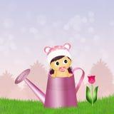 Babyfrau in der Gießkanne Lizenzfreies Stockfoto