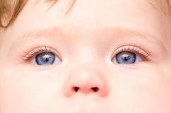 Babygezicht met blauwe ogen, close-up Stock Afbeeldingen