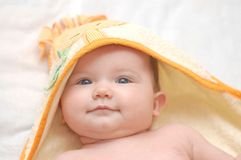 Babygirl after the bath. Beautiful baby after the bath Stock Photography
