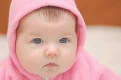 Babygirl in rose hood. Portrait of newborn baby in rose hood Stock Images