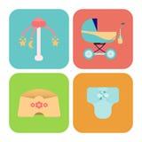 Babygoederen Kinderen vlakke pictogrammen Royalty-vrije Stock Foto