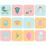 Babygoederen Kinderen vlakke pictogrammen Stock Foto